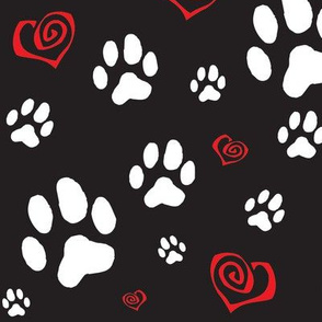 Paws Pawprints and Hearts - White and Red on Black