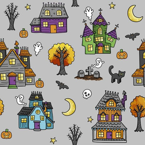 haunted houses on grey