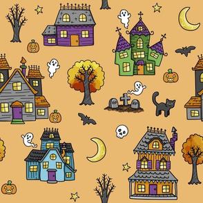 haunted houses on orange