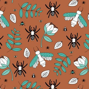 Insects and spider garden botanical creepy bugs flies and leaves cinamon brown blue