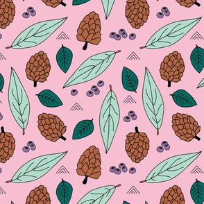 Acorns and leaves fall winter garden pink mint