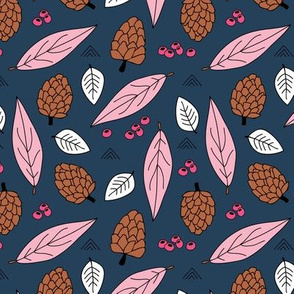 Acorns and leaves fall winter garden navy blue pink