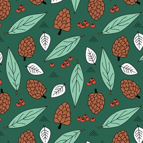 Acorns and leaves fall winter garden forest green red brown