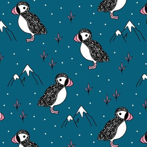 Little puffin birds winter wonderlands and ice snow mountains night blue pink girls