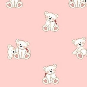 Polar Teddy Bear Coral Pink Baby Nursery