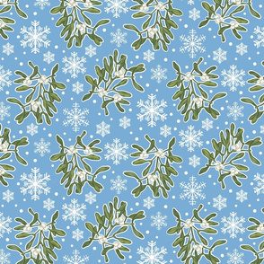 Mistletoe & Snowflakes-Blue-Small