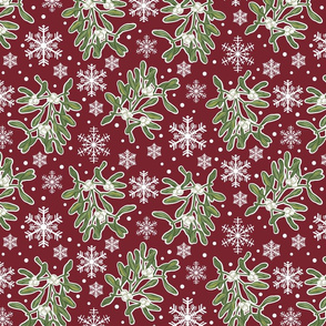 Mistletoe & Snowflakes-Burgundy-Small