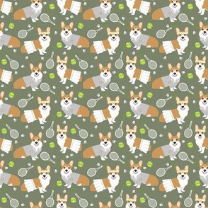 SMALL - corgi red coat tennis sports dog breed fabric green