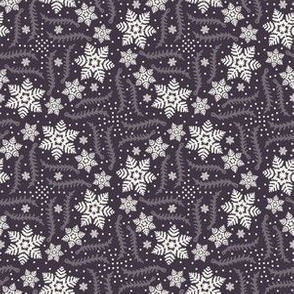 Hand drawn abstract winter snowflakes pattern.