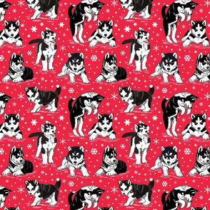 Husky puppies and snowflakes on red 8x8