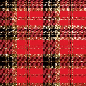 Christmas Sparkle Plaid red and Black Gold Glitter