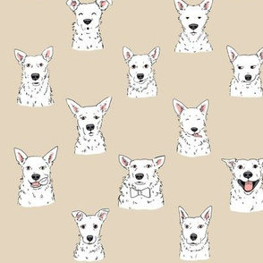 White Cattle Dogs Hummus Background