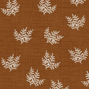 Feathery Fern Closer Russet Linen