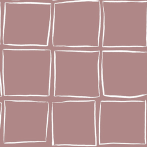Skew Squares - White on Dusty Pink Large Scale
