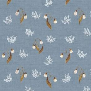 Feathery Fern Blue Grey Linen