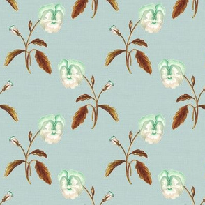 Pansy Bronze on Pale Vintage Blue Green