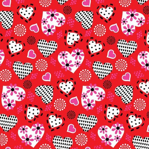 Valentine Hearts & Flowers-Red