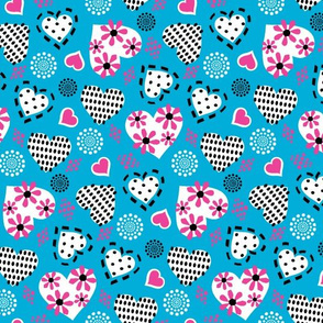 Valentine Hearts & Flowers-Turquoise