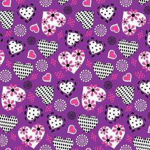 Valentine Hearts & Flowers-Violet