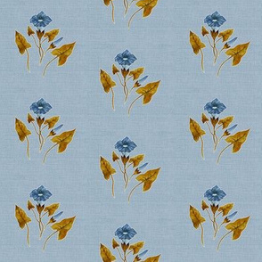 Morning Glory Blue Bronze on Pale Blue Grey Linen