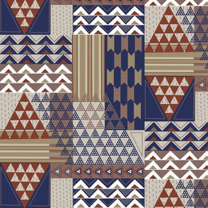 South African Triangles-rust and navy
