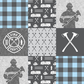firefighter patchwork - buffalo plaid baby blue - fire dept. - LAD19