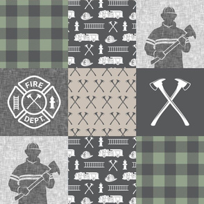 firefighter patchwork - buffalo plaid sage - fire dept. - LAD19