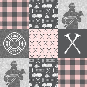firefighter patchwork - buffalo plaid pink  - fire dept. - LAD19