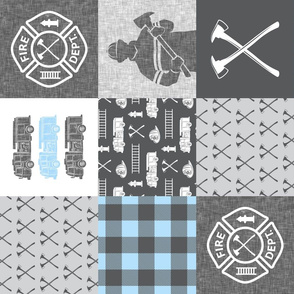 firefighter patchwork - buffalo plaid baby blue  (90) - fire dept. - LAD19
