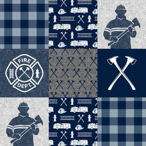 firefighter patchwork - buffalo plaid navy and dusty blue  - fire dept. - LAD19