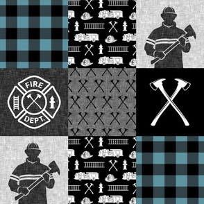 firefighter patchwork - buffalo plaid slate - fire dept. - LAD19