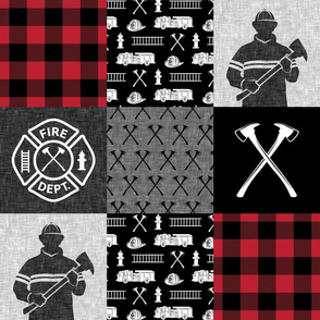firefighter patchwork - buffalo plaid - fire dept. - LAD19