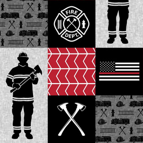 firefighter patchwork - thin red line flag  - fire dept.  - LAD19