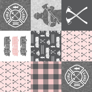 firefighter patchwork - buffalo plaid pink (90)  - fire dept. - LAD19