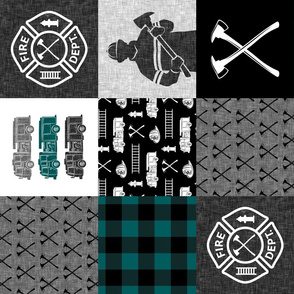 firefighter patchwork - buffalo plaid teal (90)  - fire dept. - LAD19