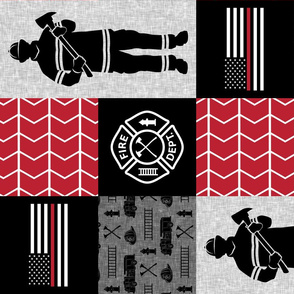 firefighter patchwork - thin red line flag  - fire dept. (90) - LAD19