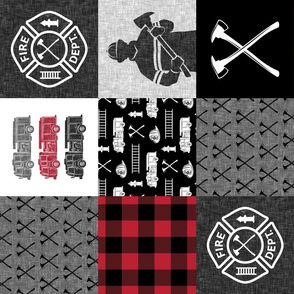 firefighter patchwork - buffalo plaid (90) - fire dept. - LAD19
