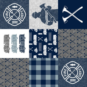 firefighter patchwork - buffalo plaid navy and dusty blue (90)  - fire dept. - LAD19