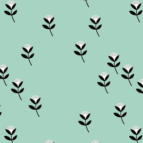 Christmas sweet cotton flowers botanical floral spring summer print spring mint green