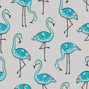 Flamingo Aqua Blue on Grey
