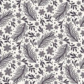 Hand drawn abstract Christmas foliage pattern.