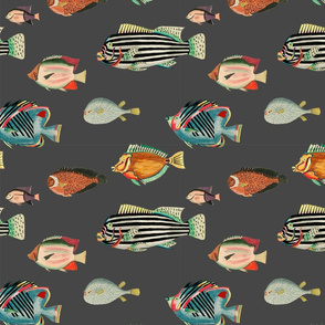 school of fish in charcoal