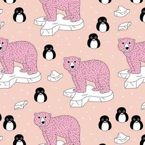 Sweet arctic animal friends penguins and polar bears neutral peach pink girls