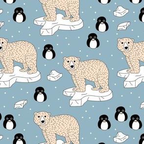 Sweet arctic animal friends penguins and polar bears neutral blue beige boys