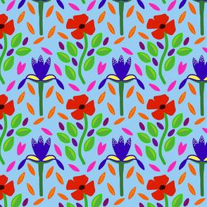 Poppies & Irises - modern Folk Art - medium, sky blue