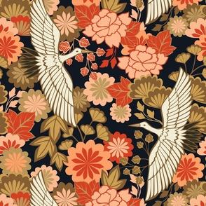 Cranes and Chrysanthemums {Black} - medium