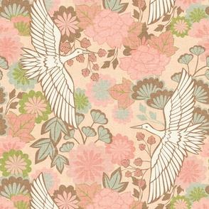 Cranes and Chrysanthemums {Spring} - medium