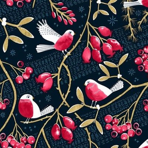 Winter Berries and Birds / Small Scale