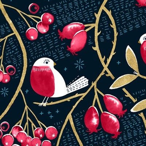 Winter Berries and Birds