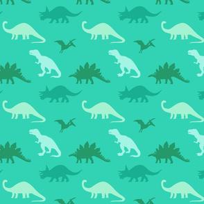 Aqua + Green Dinosaur Silhouettes